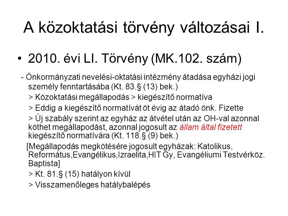 A közoktatási törvény változásai I. •2010. évi LI. Törvény (MK.102. szám) - Önkormányzati nevelési-oktatási intézmény átadása egyházi jogi személy fen