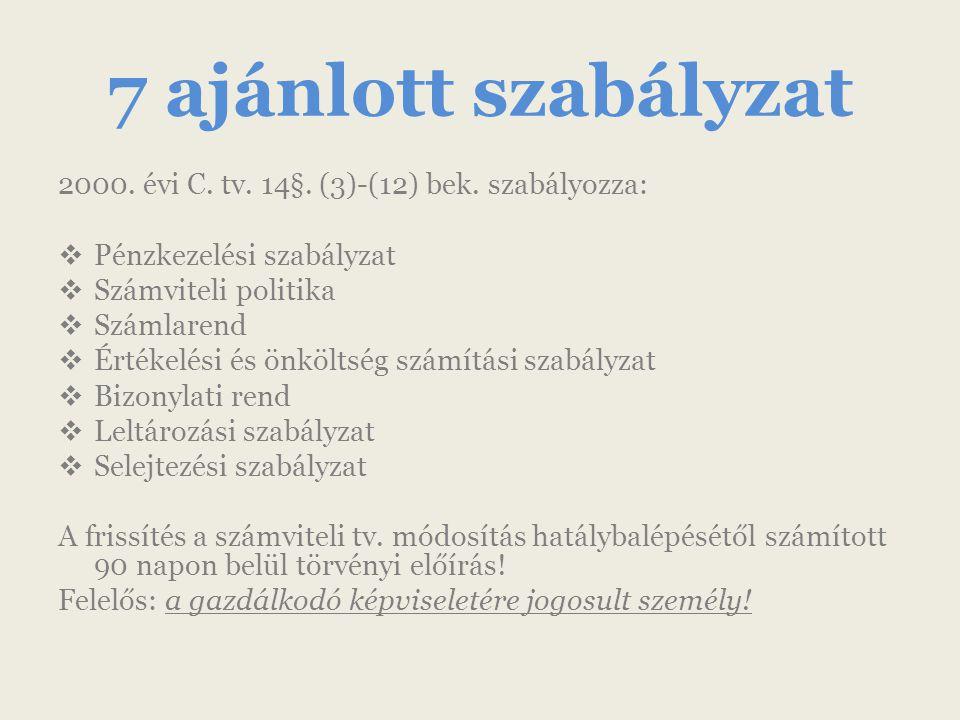 7 ajánlott szabályzat 2000. évi C. tv. 14§. (3)-(12) bek.