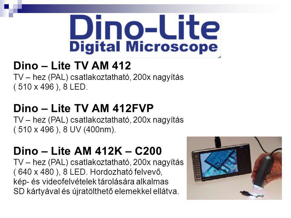 Dino – Lite TV AM 412 TV – hez (PAL) csatlakoztatható, 200x nagyítás ( 510 x 496 ), 8 LED. Dino – Lite TV AM 412FVP TV – hez (PAL) csatlakoztatható, 2