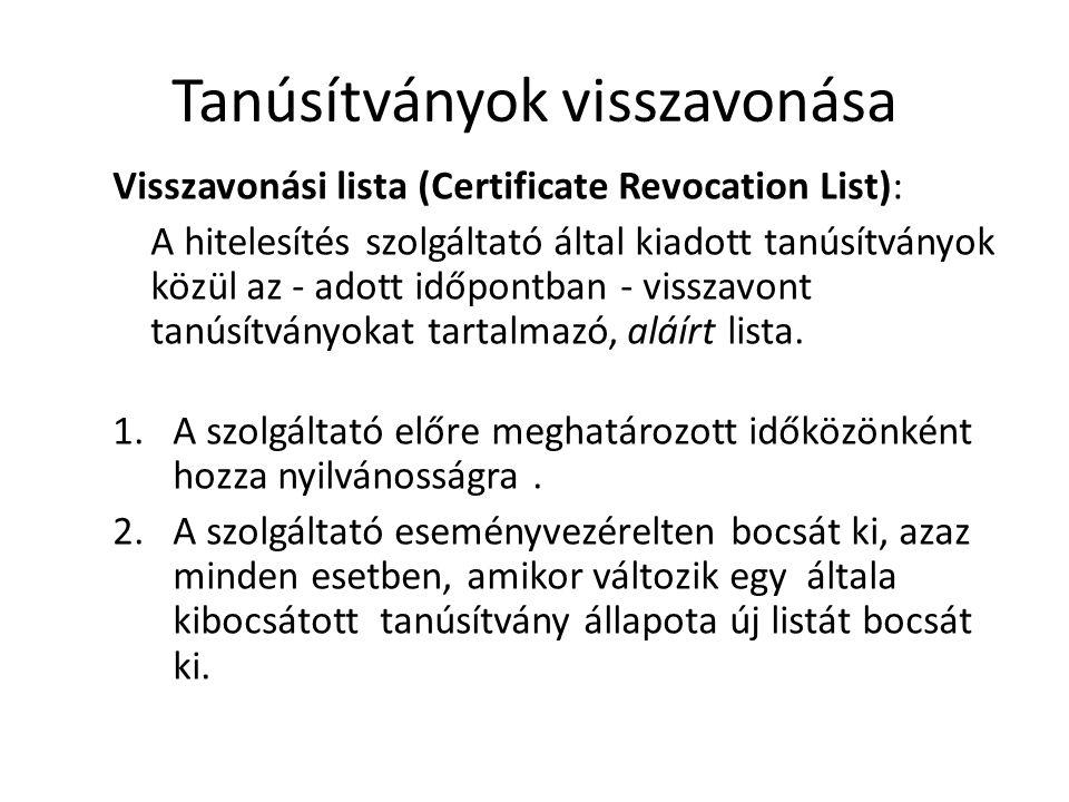 Tanúsítványok visszavonása Visszavonási lista (Certificate Revocation List): A hitelesítés szolgáltató által kiadott tanúsítványok közül az - adott időpontban - visszavont tanúsítványokat tartalmazó, aláírt lista.
