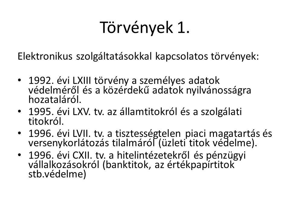 Törvények 1. Elektronikus szolgáltatásokkal kapcsolatos törvények: • 1992.