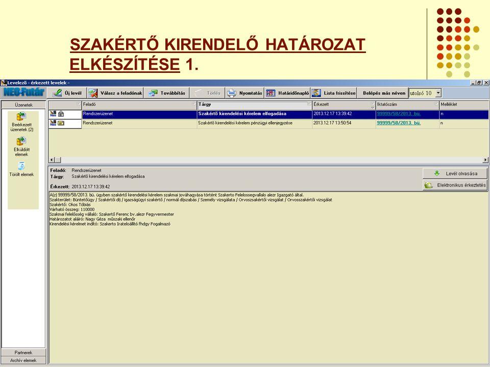 SZAKÉRTŐ KIRENDELŐ HATÁROZAT ELKÉSZÍTÉSE 1.