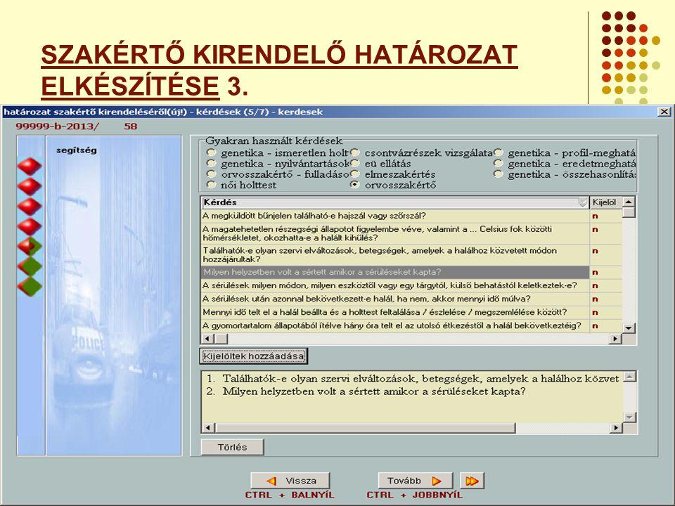 SZAKÉRTŐ KIRENDELŐ HATÁROZAT ELKÉSZÍTÉSE 3.