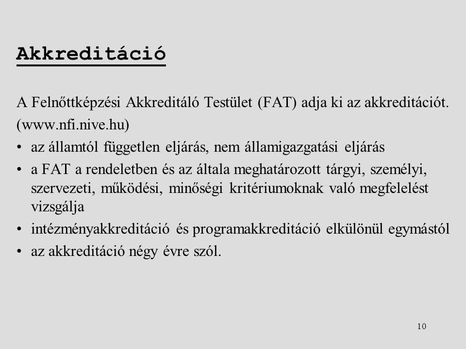 10 Akkreditáció A Felnőttképzési Akkreditáló Testület (FAT) adja ki az akkreditációt.