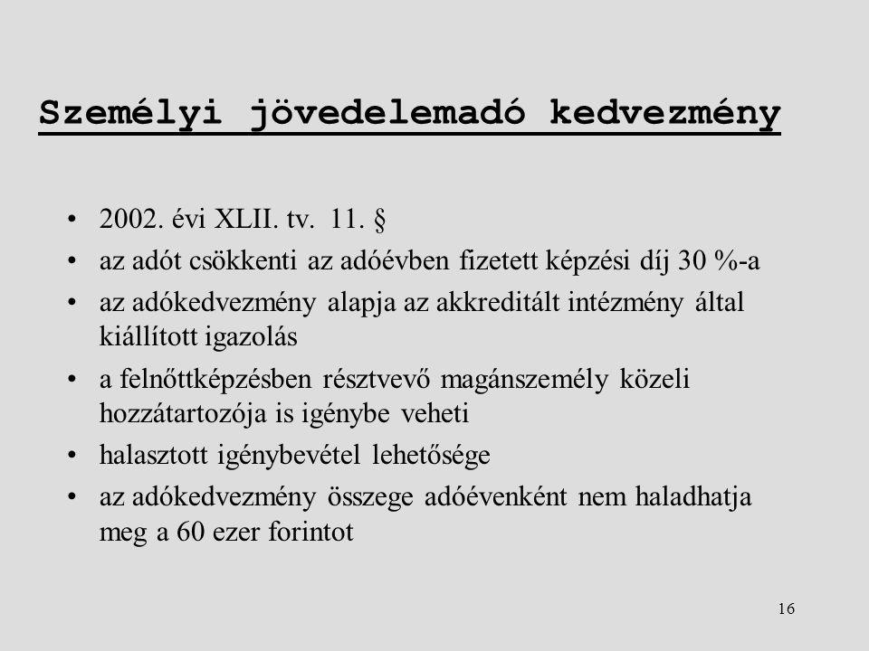 16 Személyi jövedelemadó kedvezmény •2002. évi XLII.