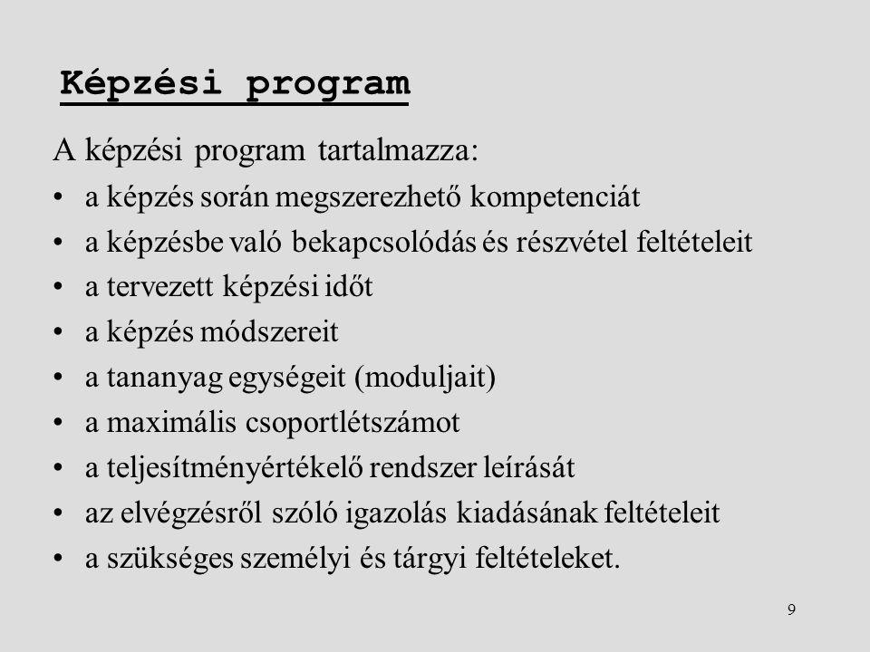 9 Képzési program A képzési program tartalmazza: •a képzés során megszerezhető kompetenciát •a képzésbe való bekapcsolódás és részvétel feltételeit •a tervezett képzési időt •a képzés módszereit •a tananyag egységeit (moduljait) •a maximális csoportlétszámot •a teljesítményértékelő rendszer leírását •az elvégzésről szóló igazolás kiadásának feltételeit •a szükséges személyi és tárgyi feltételeket.