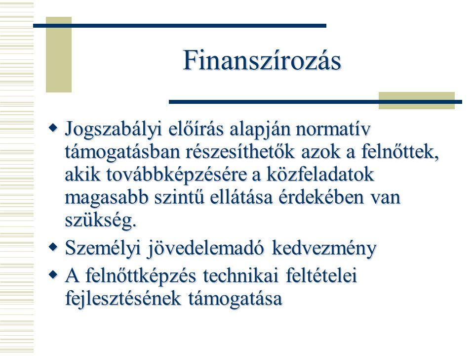 Finanszírozás  Jogszabályi előírás alapján normatív támogatásban részesíthetők azok a felnőttek, akik továbbképzésére a közfeladatok magasabb szintű ellátása érdekében van szükség.