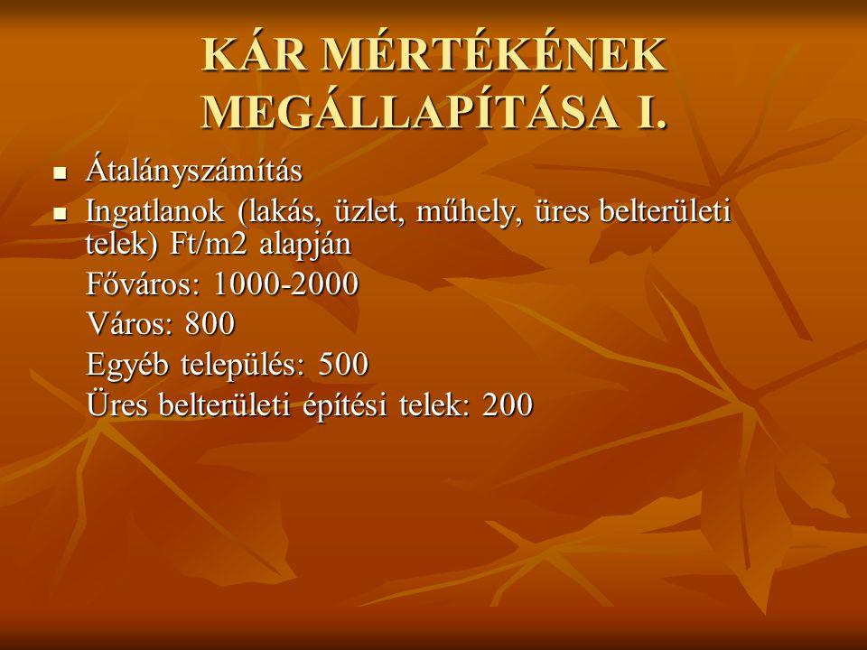 KÁR MÉRTÉKÉNEK MEGÁLLAPÍTÁSA I.  Átalányszámítás  Ingatlanok (lakás, üzlet, műhely, üres belterületi telek) Ft/m2 alapján Főváros: 1000-2000 Főváros
