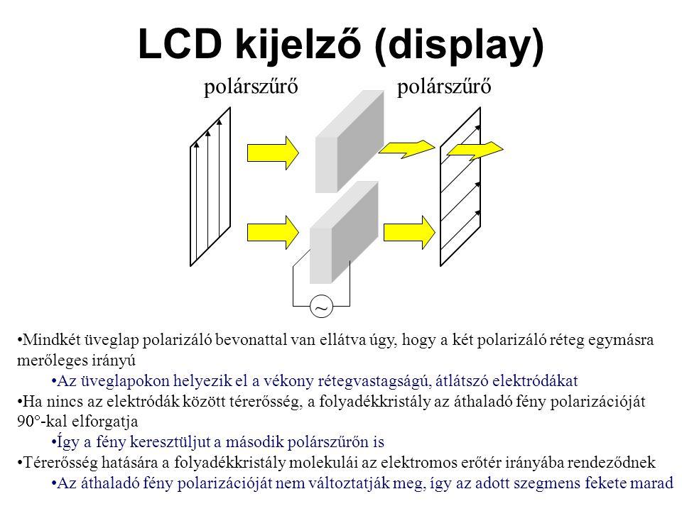 LCD kijelző (display) •Mindkét üveglap polarizáló bevonattal van ellátva úgy, hogy a két polarizáló réteg egymásra merőleges irányú •Az üveglapokon he