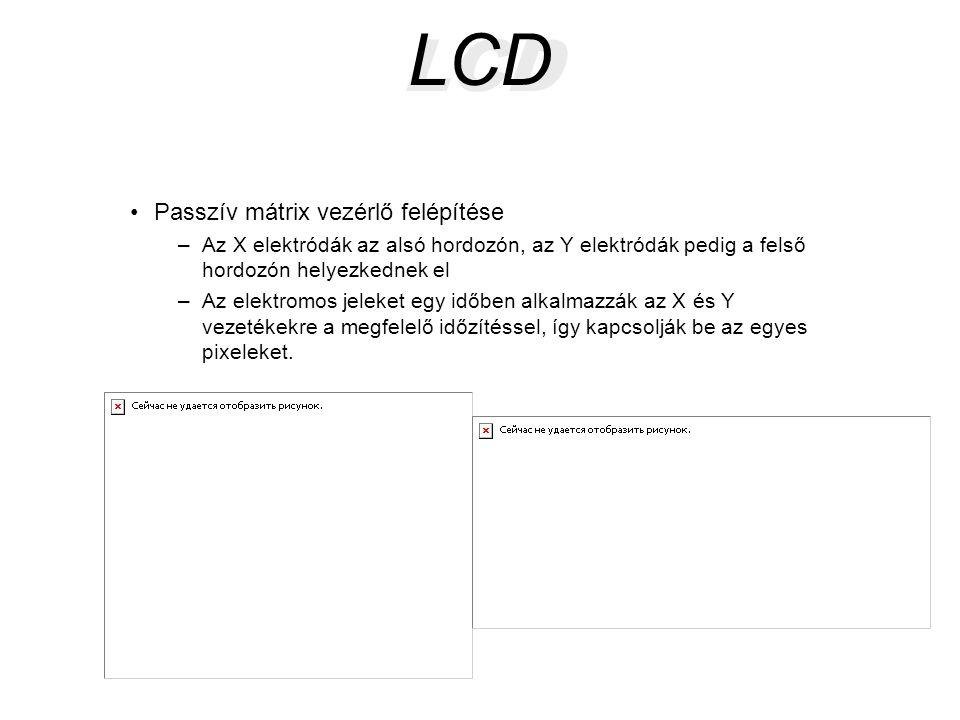 LCD •Passzív mátrix vezérlő felépítése –Az X elektródák az alsó hordozón, az Y elektródák pedig a felső hordozón helyezkednek el –Az elektromos jeleke