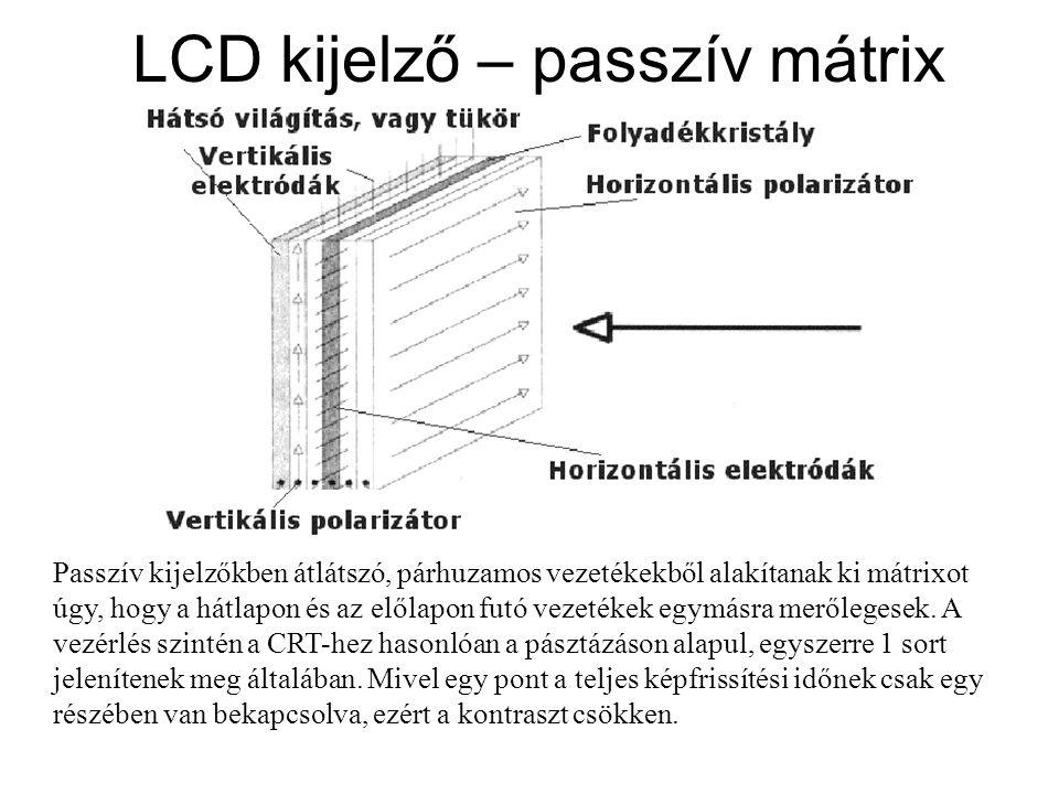 LCD kijelző – passzív mátrix Passzív kijelzőkben átlátszó, párhuzamos vezetékekből alakítanak ki mátrixot úgy, hogy a hátlapon és az előlapon futó vez
