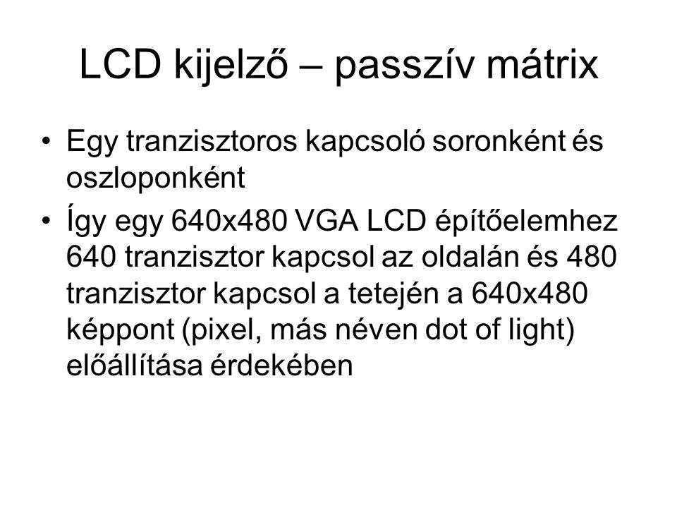 LCD kijelző – passzív mátrix •Egy tranzisztoros kapcsoló soronként és oszloponként •Így egy 640x480 VGA LCD építőelemhez 640 tranzisztor kapcsol az ol