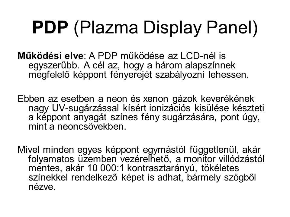 PDP (Plazma Display Panel) Működési elve: A PDP működése az LCD-nél is egyszerűbb. A cél az, hogy a három alapszínnek megfelelő képpont fényerejét sza