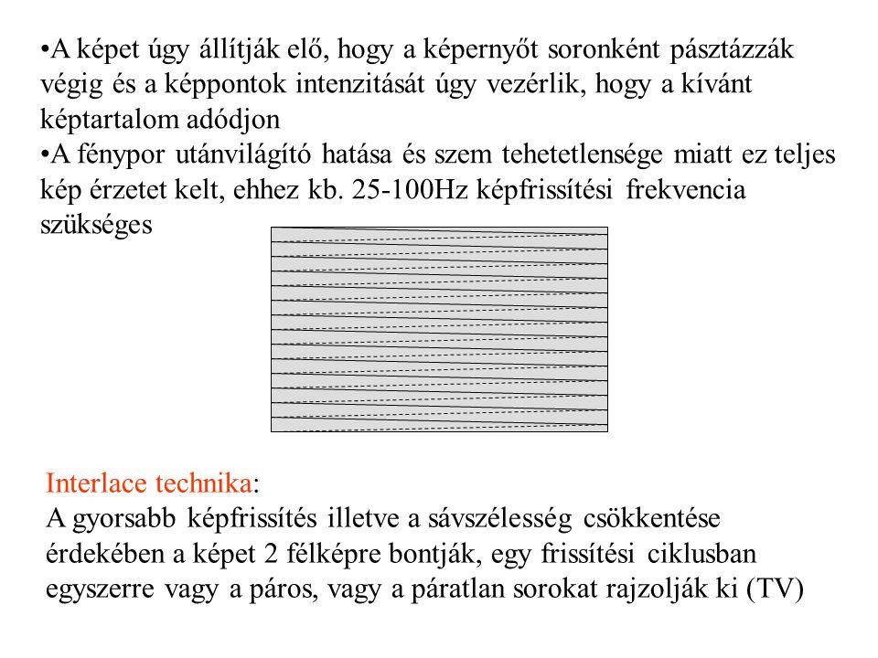 PDP (Plazma Display Panel) Működési elve: A PDP működése az LCD-nél is egyszerűbb.