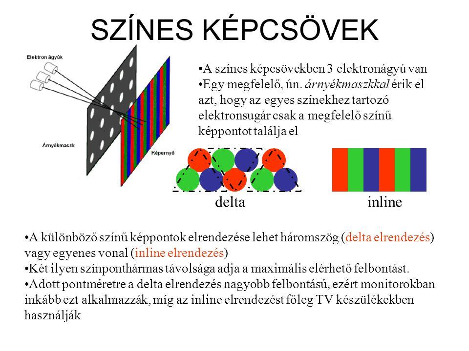 SZÍNES KÉPCSÖVEK •A színes képcsövekben 3 elektronágyú van •Egy megfelelő, ún. árnyékmaszkkal érik el azt, hogy az egyes színekhez tartozó elektronsug