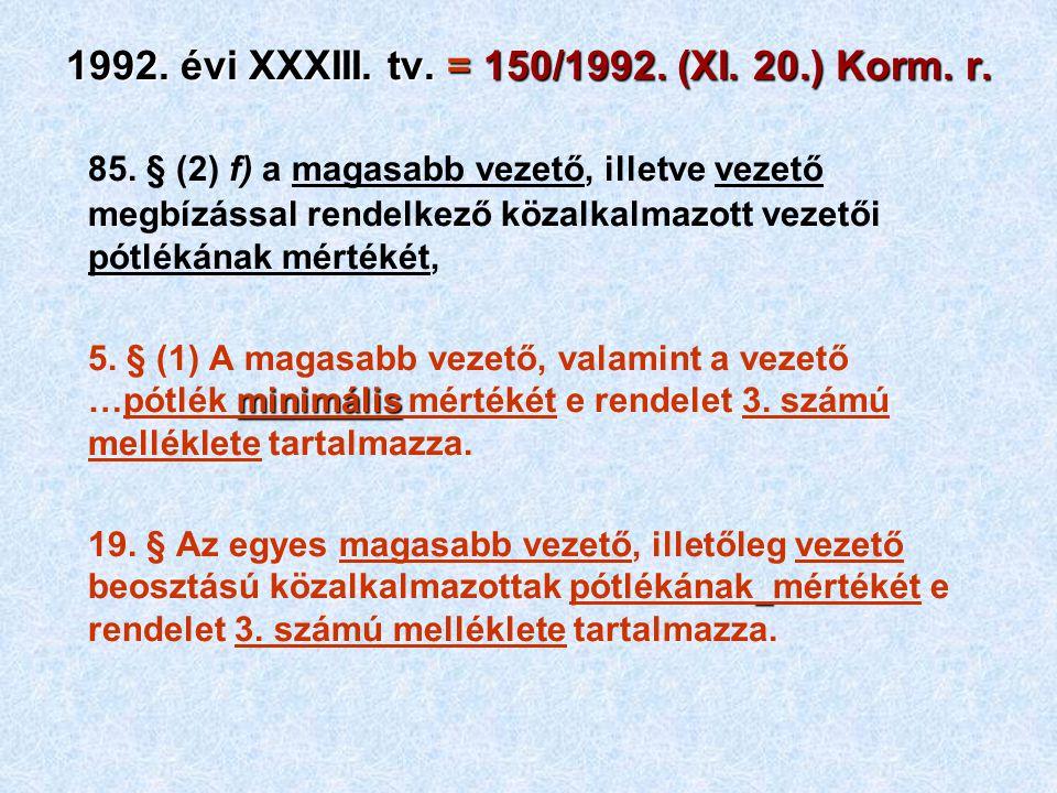 1992. évi XXXIII. tv. = 150/1992. (XI. 20.) Korm. r. 85. § (2) f) a magasabb vezető, illetve vezető megbízással rendelkező közalkalmazott vezetői pótl