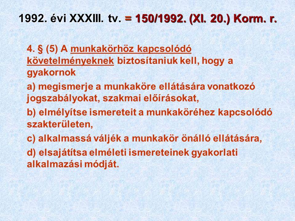 1992. évi XXXIII. tv. = 150/1992. (XI. 20.) Korm. r. 4. § (5) A munkakörhöz kapcsolódó követelményeknek biztosítaniuk kell, hogy a gyakornok a) megism