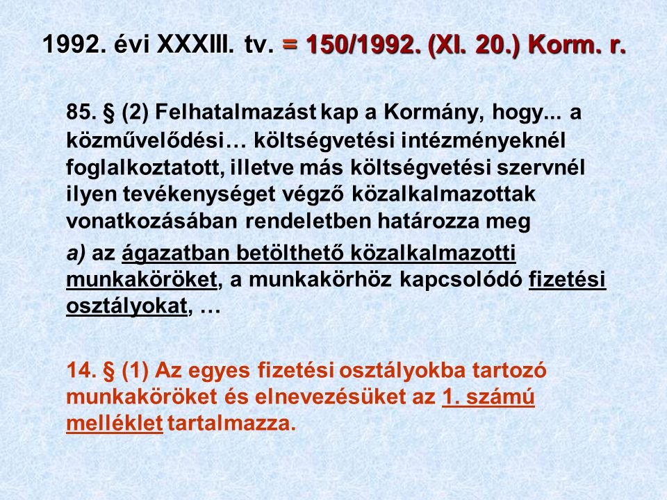 1992. évi XXXIII. tv. = 150/1992. (XI. 20.) Korm. r. 85. § (2) Felhatalmazást kap a Kormány, hogy... a közművelődési… költségvetési intézményeknél fog