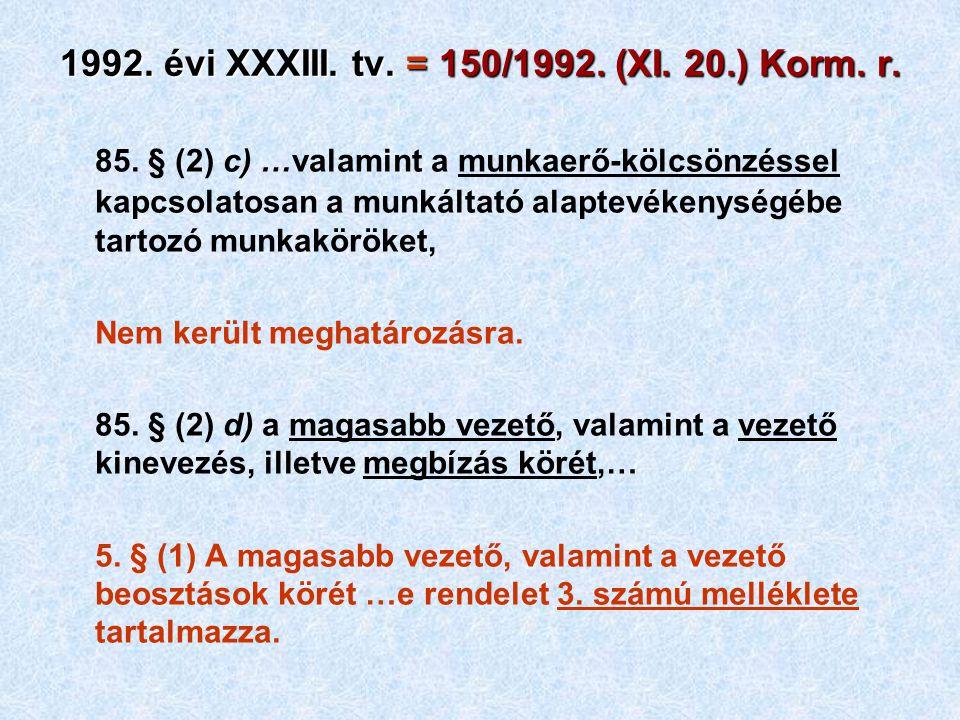 1992. évi XXXIII. tv. = 150/1992. (XI. 20.) Korm. r. 85. § (2) c) …valamint a munkaerő-kölcsönzéssel kapcsolatosan a munkáltató alaptevékenységébe tar