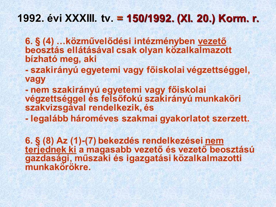 1992. évi XXXIII. tv. = 150/1992. (XI. 20.) Korm. r. 6. § (4) …közművelődési intézményben vezető beosztás ellátásával csak olyan közalkalmazott bízhat