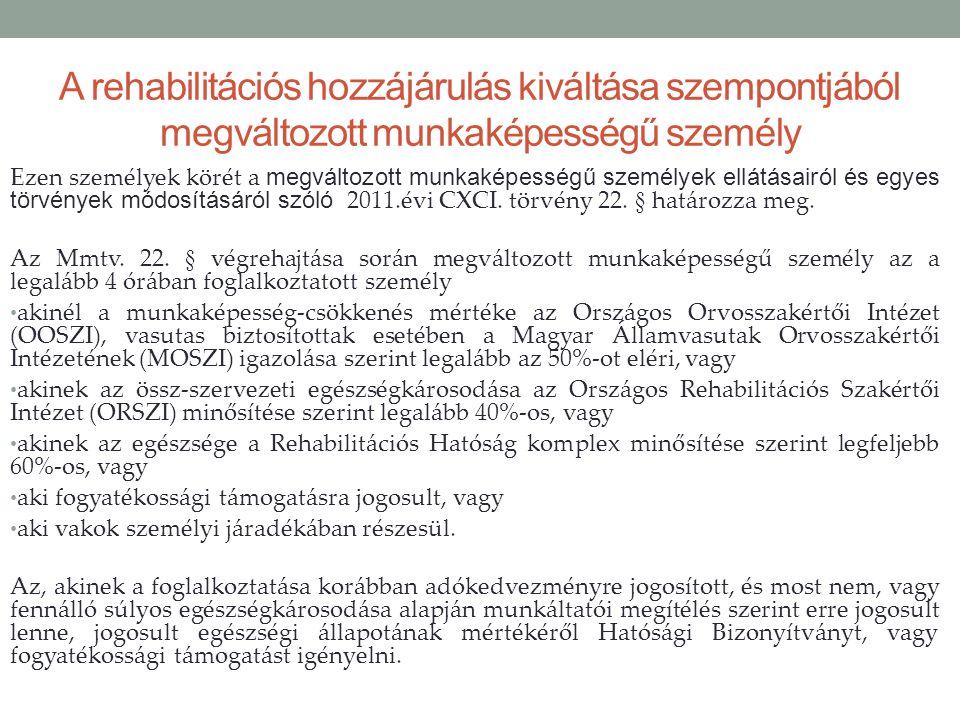 A rehabilitációs hozzájárulás kiváltása szempontjából megváltozott munkaképességű személy Ezen személyek körét a megváltozott munkaképességű személyek ellátásairól és egyes törvények módosításáról szóló 2011.évi CXCI.