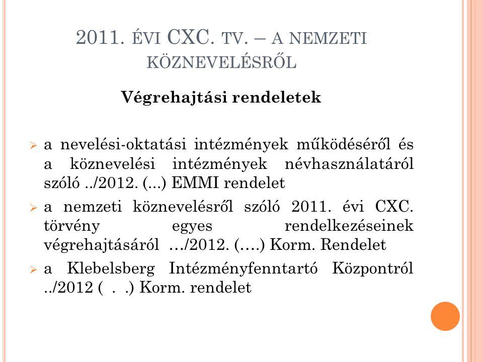2011. ÉVI CXC. TV. – A NEMZETI KÖZNEVELÉSRŐL Végrehajtási rendeletek  a nevelési-oktatási intézmények működéséről és a köznevelési intézmények névhas