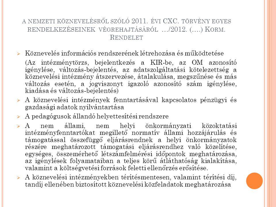 A NEMZETI KÖZNEVELÉSRŐL SZÓLÓ 2011.ÉVI CXC. TÖRVÉNY EGYES RENDELKEZÉSEINEK VÉGREHAJTÁSÁRÓL …/2012.