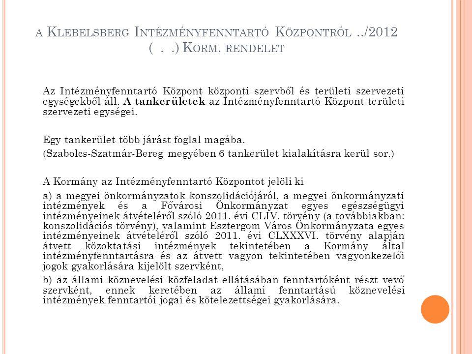 A K LEBELSBERG I NTÉZMÉNYFENNTARTÓ K ÖZPONTRÓL../2012 (..) K ORM. RENDELET Az Intézményfenntartó Központ központi szervből és területi szervezeti egys