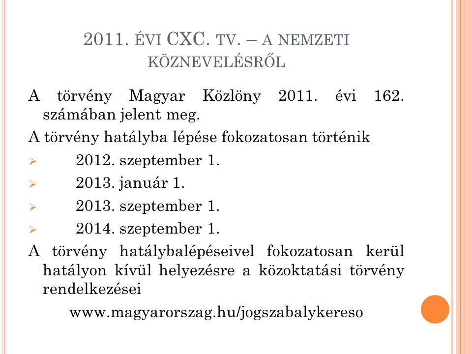 2011. ÉVI CXC. TV. – A NEMZETI KÖZNEVELÉSRŐL A törvény Magyar Közlöny 2011. évi 162. számában jelent meg. A törvény hatályba lépése fokozatosan történ