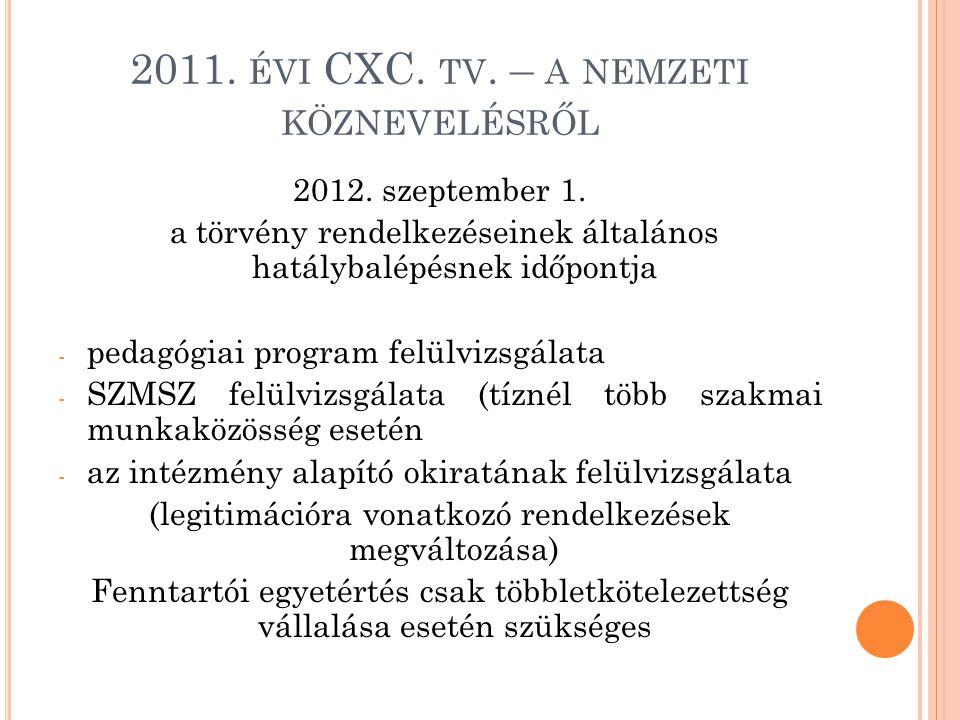 2011. ÉVI CXC. TV. – A NEMZETI KÖZNEVELÉSRŐL 2012. szeptember 1. a törvény rendelkezéseinek általános hatálybalépésnek időpontja - pedagógiai program