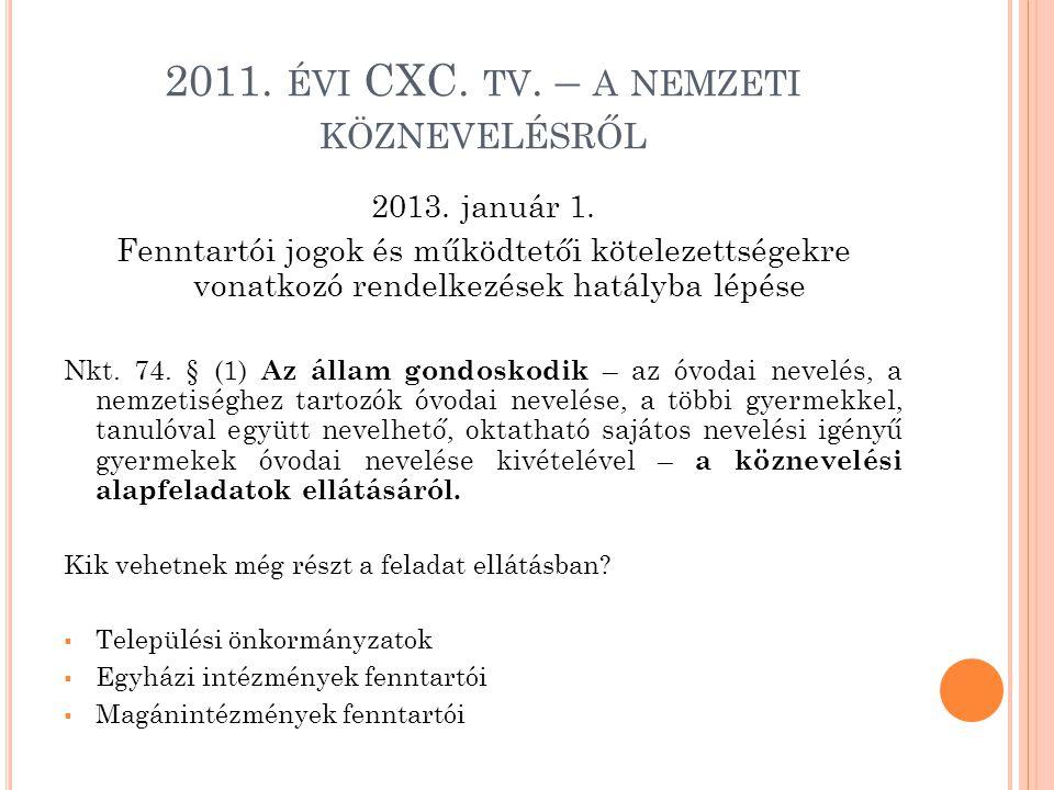 2011. ÉVI CXC. TV. – A NEMZETI KÖZNEVELÉSRŐL 2013. január 1. Fenntartói jogok és működtetői kötelezettségekre vonatkozó rendelkezések hatályba lépése