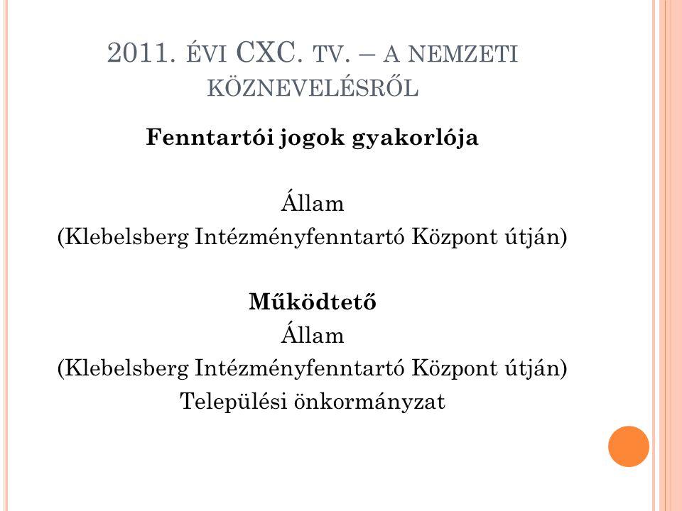 2011. ÉVI CXC. TV. – A NEMZETI KÖZNEVELÉSRŐL Fenntartói jogok gyakorlója Állam (Klebelsberg Intézményfenntartó Központ útján) Működtető Állam (Klebels