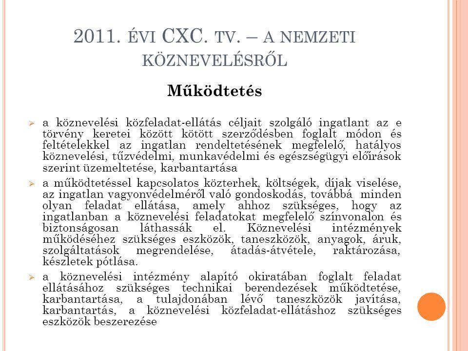 2011. ÉVI CXC. TV. – A NEMZETI KÖZNEVELÉSRŐL Működtetés  a köznevelési közfeladat-ellátás céljait szolgáló ingatlant az e törvény keretei között kötö