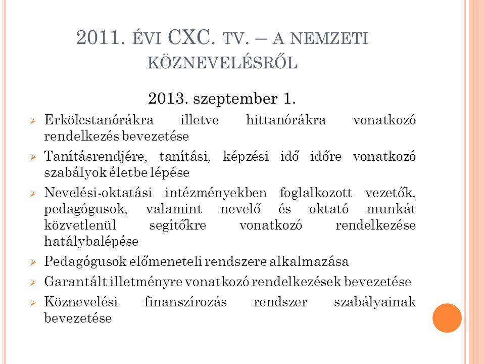2011. ÉVI CXC. TV. – A NEMZETI KÖZNEVELÉSRŐL 2013. szeptember 1.  Erkölcstanórákra illetve hittanórákra vonatkozó rendelkezés bevezetése  Tanításren
