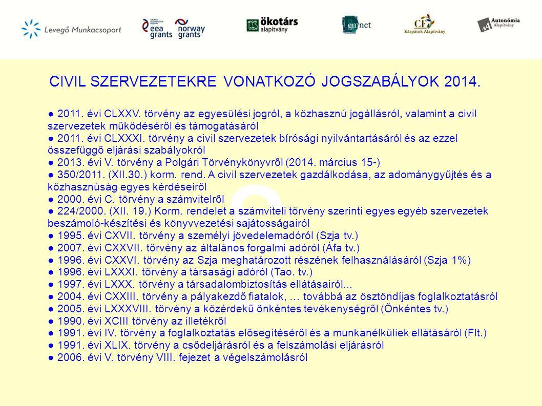 CIVIL SZERVEZETEKRE VONATKOZÓ JOGSZABÁLYOK 2014.§ ● 2011.
