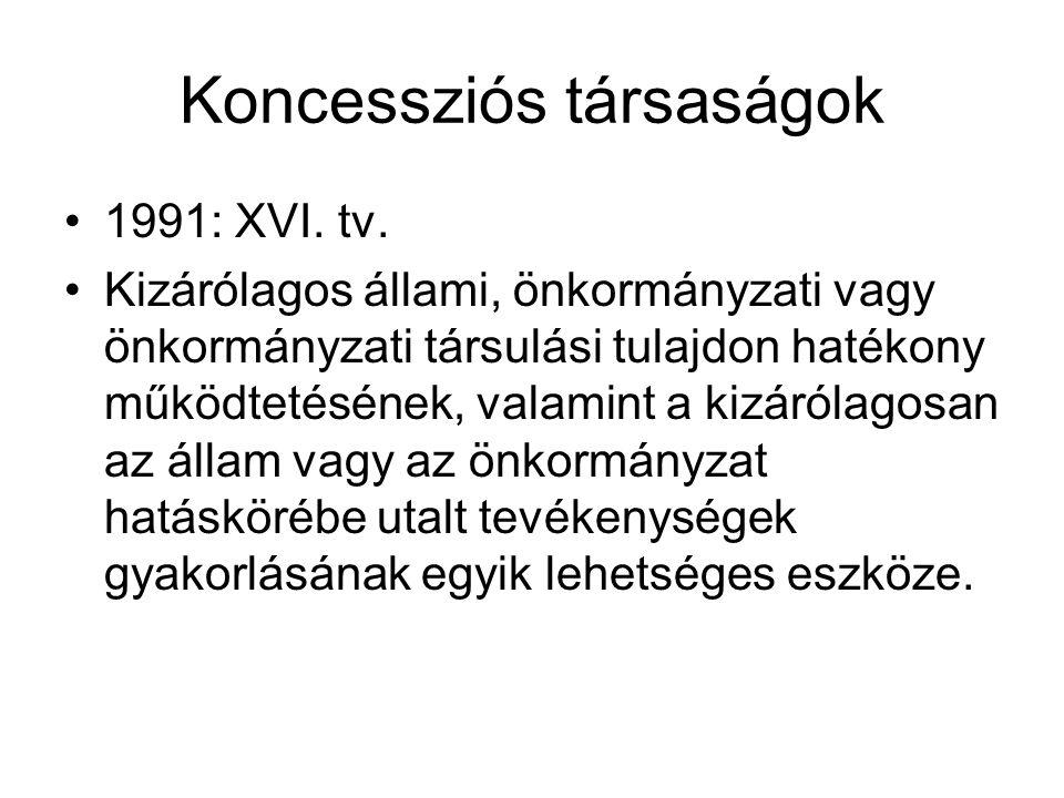 Koncessziós társaságok •1991: XVI.tv.
