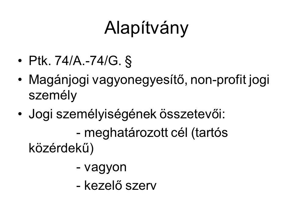 Alapítvány •Ptk.74/A.-74/G.