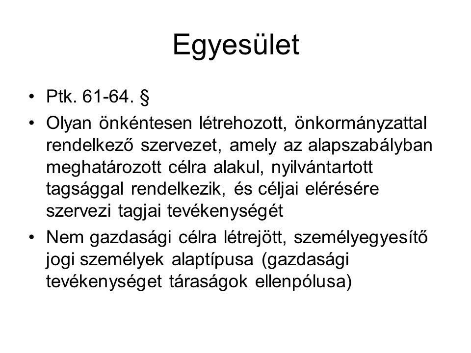Egyesület •Ptk.61-64.
