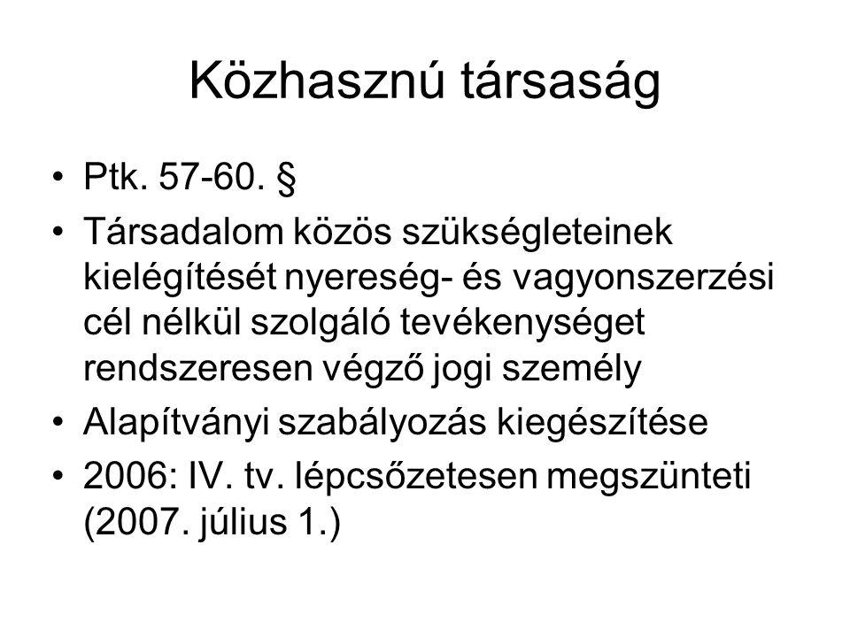 Közhasznú társaság •Ptk.57-60.