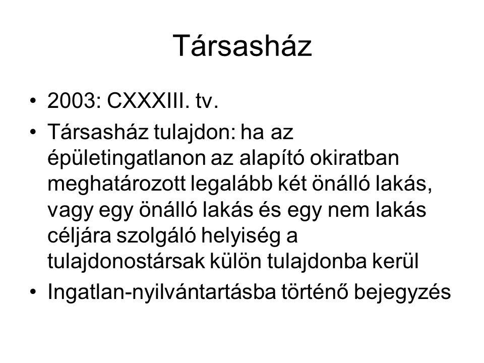 Társasház •2003: CXXXIII.tv.