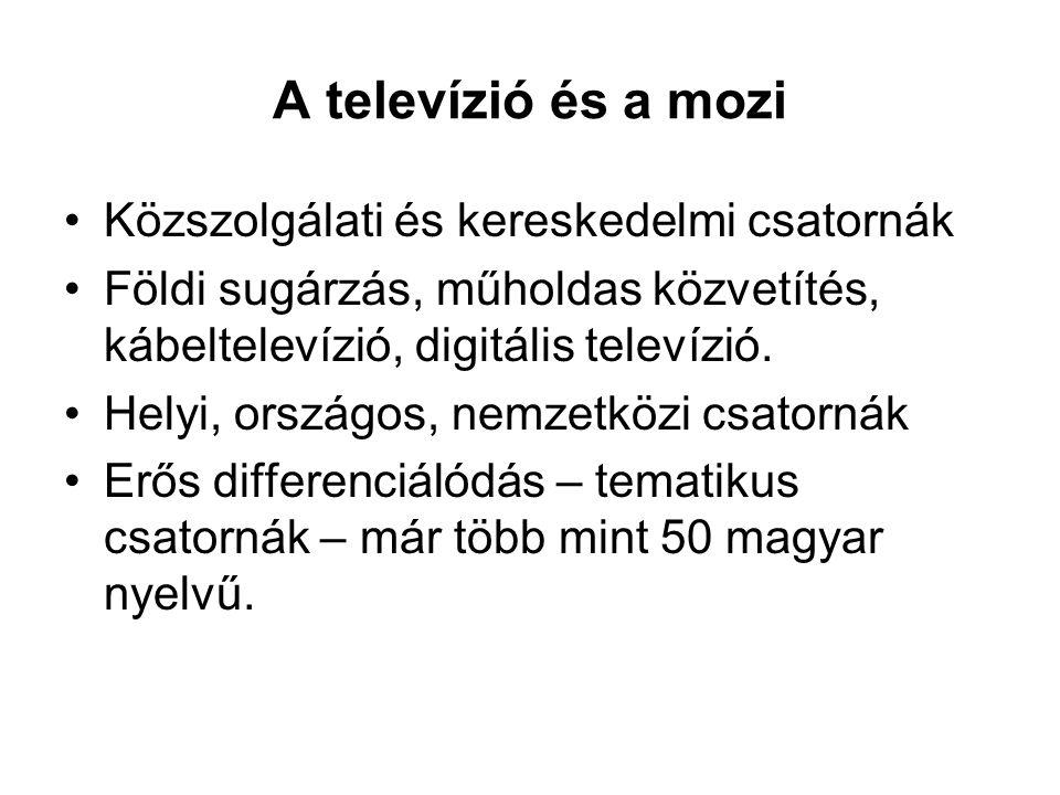 A televízió és a mozi •Közszolgálati és kereskedelmi csatornák •Földi sugárzás, műholdas közvetítés, kábeltelevízió, digitális televízió. •Helyi, orsz