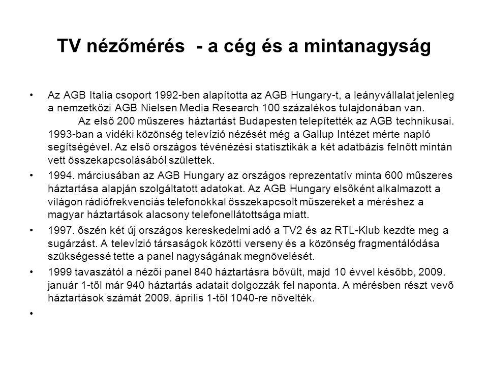 TV nézőmérés - a cég és a mintanagyság •Az AGB Italia csoport 1992-ben alapította az AGB Hungary-t, a leányvállalat jelenleg a nemzetközi AGB Nielsen