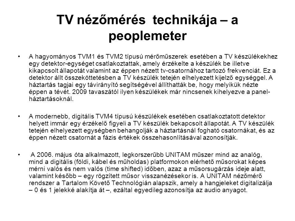 TV nézőmérés technikája – a peoplemeter •A hagyományos TVM1 és TVM2 típusú mérőműszerek esetében a TV készülékekhez egy detektor-egységet csatlakoztat