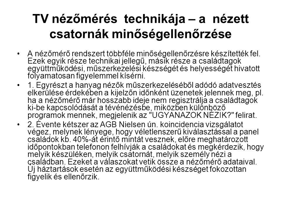 TV nézőmérés technikája – a nézett csatornák minőségellenőrzése •A nézőmérő rendszert többféle minőségellenőrzésre készítették fel. Ezek egyik része t