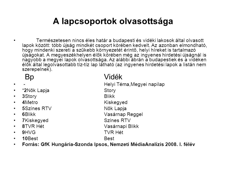 A lapcsoportok olvasottsága •Természetesen nincs éles határ a budapesti és vidéki lakosok által olvasott lapok között: több újság mindkét csoport köré
