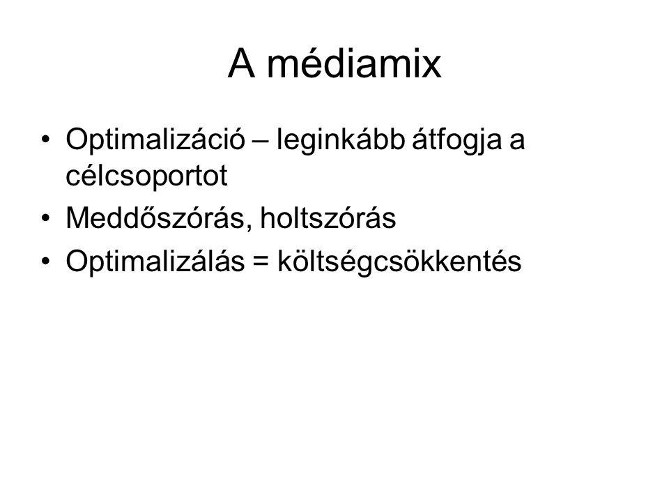 A médiamix •Optimalizáció – leginkább átfogja a célcsoportot •Meddőszórás, holtszórás •Optimalizálás = költségcsökkentés