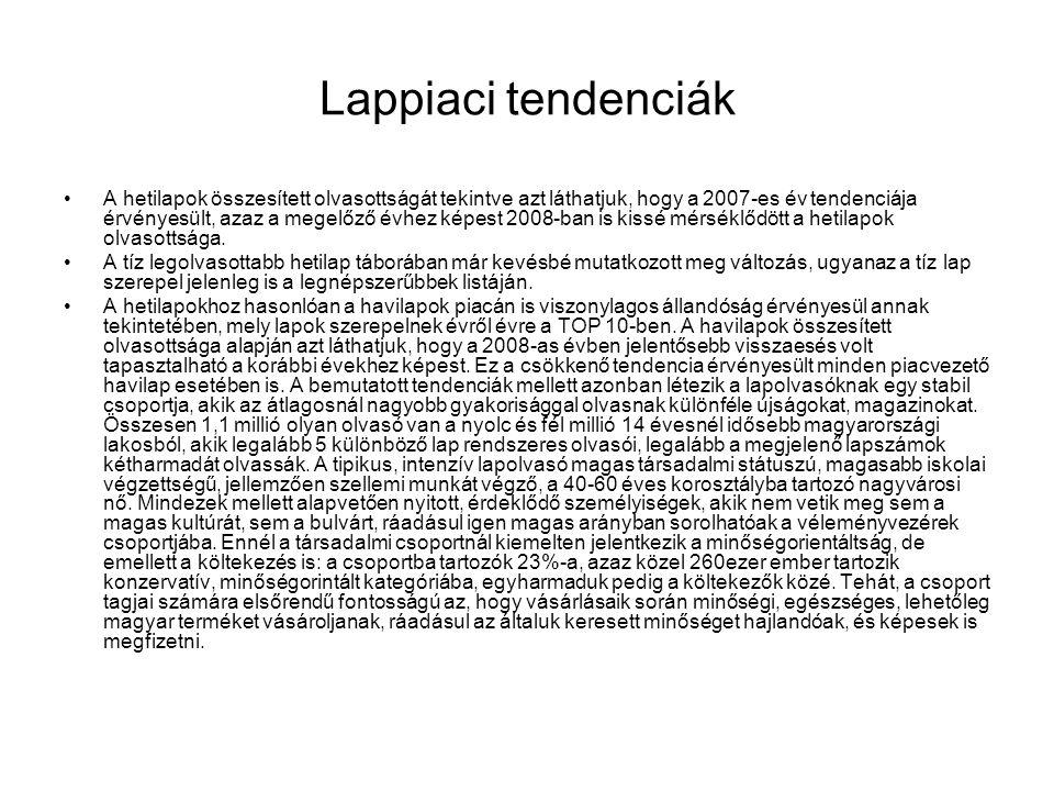 Lappiaci tendenciák •A hetilapok összesített olvasottságát tekintve azt láthatjuk, hogy a 2007-es év tendenciája érvényesült, azaz a megelőző évhez ké