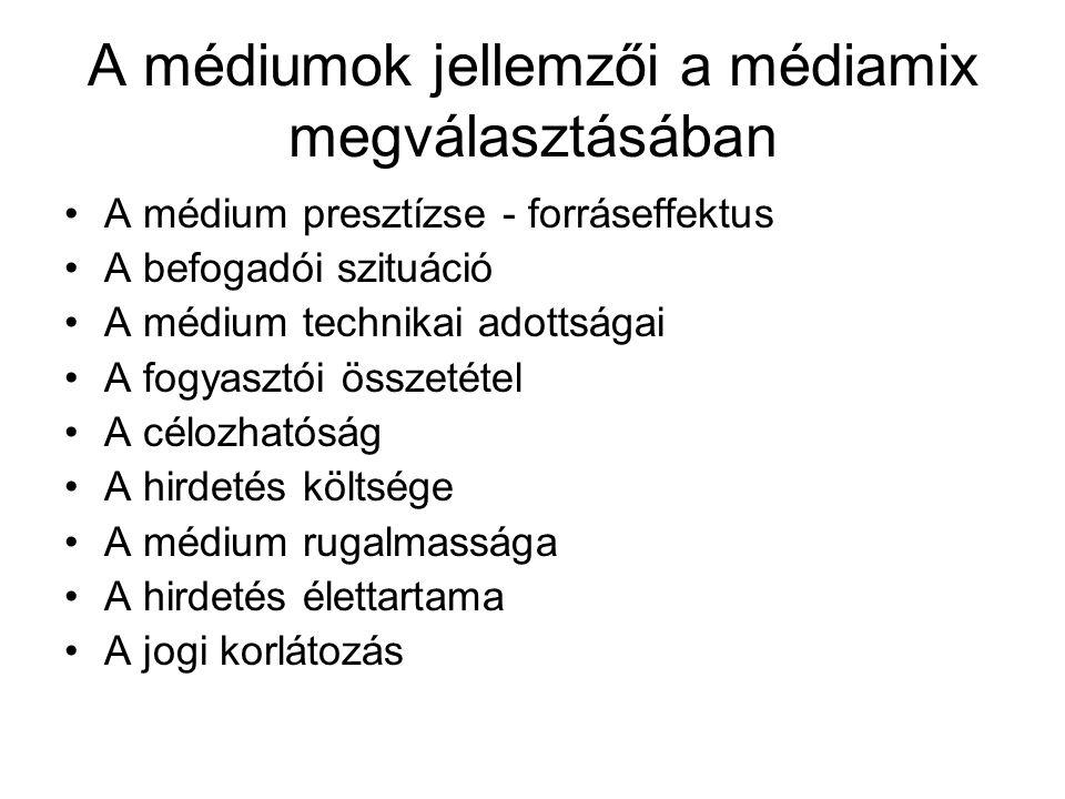 A médiumok jellemzői a médiamix megválasztásában •A médium presztízse - forráseffektus •A befogadói szituáció •A médium technikai adottságai •A fogyas