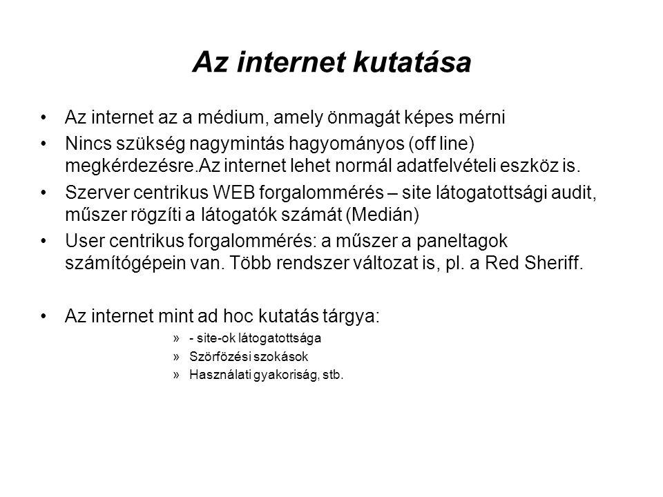 Az internet kutatása •Az internet az a médium, amely önmagát képes mérni •Nincs szükség nagymintás hagyományos (off line) megkérdezésre.Az internet le