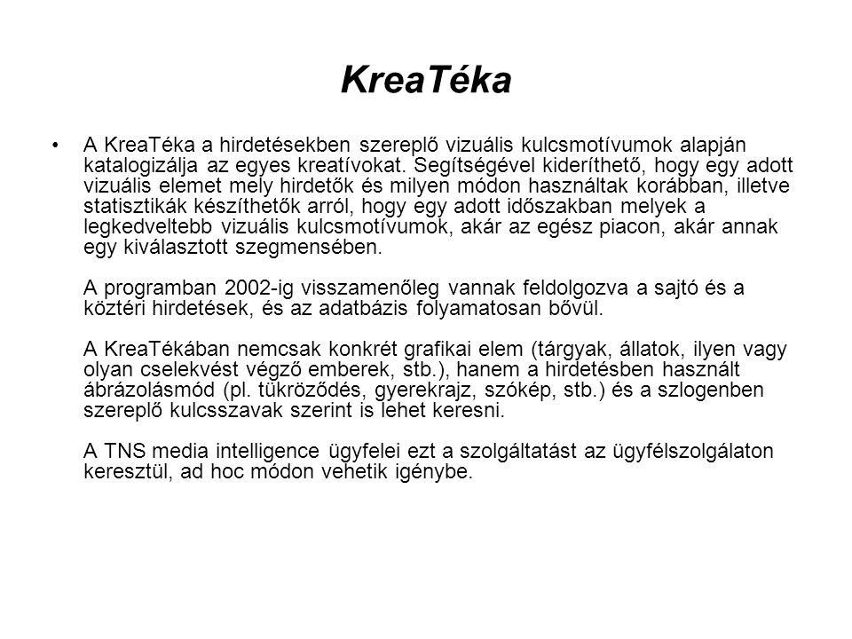 KreaTéka •A KreaTéka a hirdetésekben szereplő vizuális kulcsmotívumok alapján katalogizálja az egyes kreatívokat. Segítségével kideríthető, hogy egy a